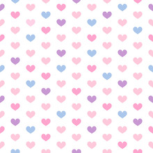 Heart Seamless Pattern Vector Illustration. Hearts With Sweet Pastel Color.