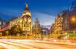 Madrid gran via at dusk time,Spain