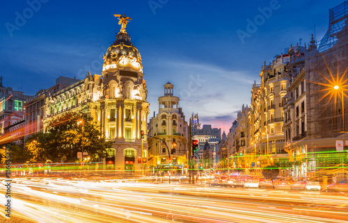 Poster Madrid Madrid gran via at dusk time,Spain