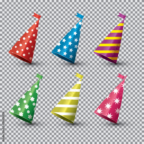 Party Hat Isolated Set on Transparent Background. Wallpaper Mural