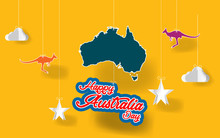 Paper Art Australia Day.Paper Happy Australia Day Texture Abstract Wiith Origami Paper Clouds, Stars, Kangaroos In Special Austarlia Yellow Background