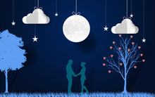 Paper Art. Lovers Join Hands With Moon In The Night. Romantic Scence With Love Tree, Stars, Clouds And Moon. Valentine's Day. Vector Illustration.