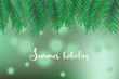Green palm tree leaves on green bokeh, defocused background with Summer Holiday text.