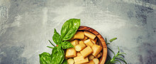 Traditional Caucasian Smoked Chechel Cheese With Spicy Herbs, Food Background, Top View