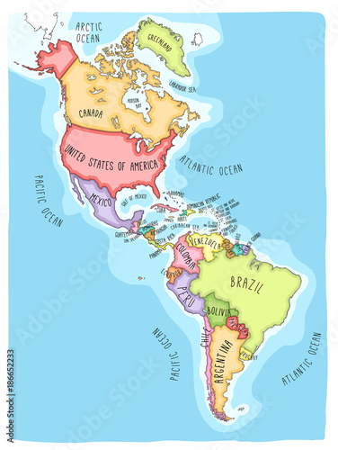 Hand drawn vector map of the Americas. Colorful cartoon ...