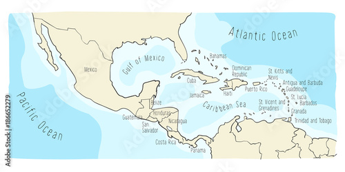 Hand drawn vector map of Central America and Mexico. Colorful cartoon style cartography of central America including Mexico, Nicaragua, Honduras, Panama, San Salvador, Guatemala, Bahamas, Cuba...