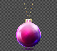 Realistic Purple Christmas Ball Isolated On Transparent Background Vector Illustration. Glossy, Shiny, Glass Bauble For Decoration New Year Tree. Decorative Object For Mockup, Banner, Greeting Card