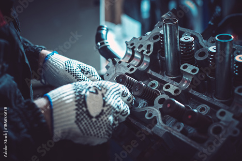Pinturas sobre lienzo  The auto mechanic deconstructs the internal combustion engine.
