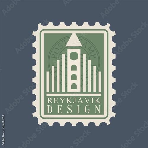 Fényképezés Postmark with famous landmark of Reykjavik - Hallgrimskirkja