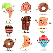 Funny Dessert Characters Set, ...