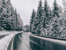 Winter Road. Country Road Through Forest. Travel Concept.
