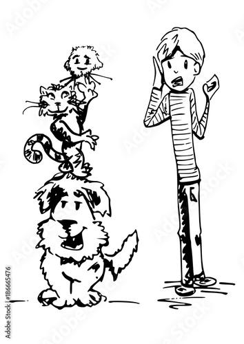 circus act van huisdieren Tableau sur Toile