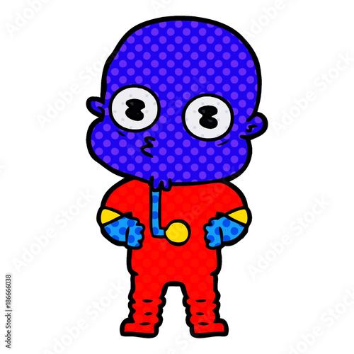 Photo sur Aluminium Art abstrait cartoon weird bald spaceman