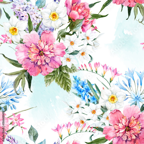 Akwarela wektor wzór kwiatowy