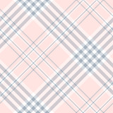 Wzór kratki w kolorze jasnoróżowym, niebieskim i białym. Bezszwowa tkaniny tekstura. - 186670034