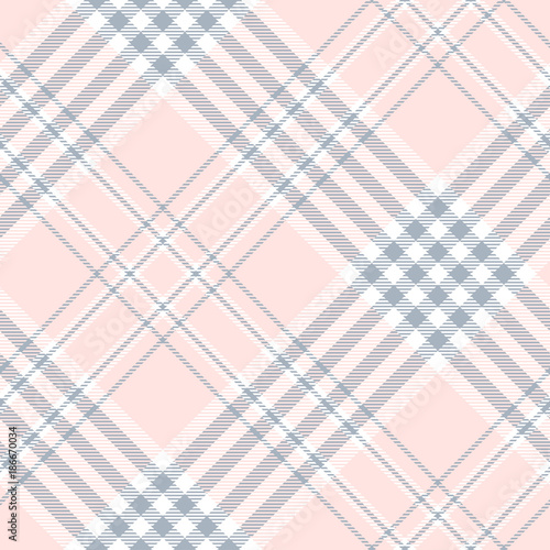 Plaid check pattern in pale pink, dusty blue and white Canvas Print