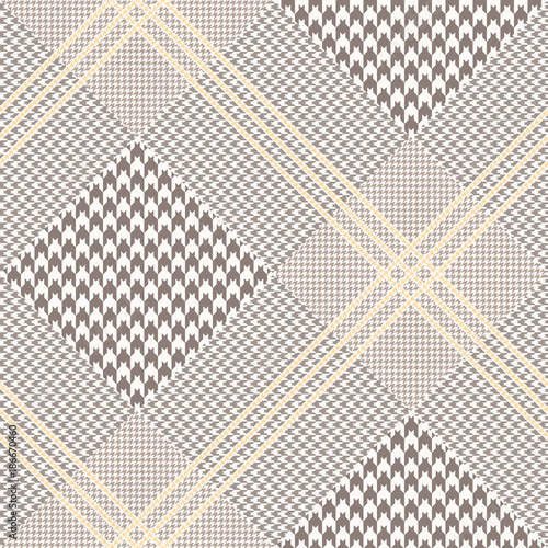 Photo  Glen plaid pattern in brown, off-white and pale orange