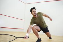 Man During Squash Match On Cou...