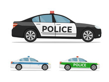 Set Of Police Cars Side View, ...