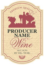 Vector Wine Label With The Sil...