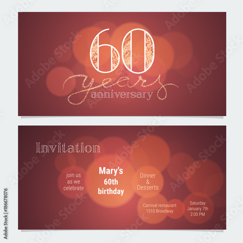 Poster  60 years anniversary invitation to celebration vector illustration