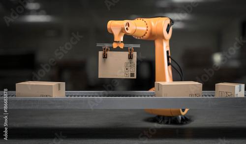 Fotografie, Obraz  3d Roboter mit Pakete auf Förderband