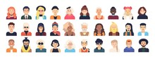 Bundle Of Male And Female Cartoon Characters Or Avatars Dressed In Trendy Clothes And With Different Hairstyles Isolated On White Background. Set Of Men And Women. Vector Illustration In Flat Style.