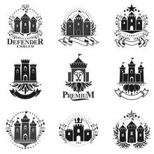 Ancient Fortresses Emblems Set...