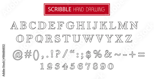 Hand drawn scribble black font isolated on white  Vector alphabet