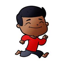 Happy Cartoon Man Running