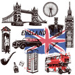 Set of hand drawn sketch style England themed objects. Vector illustration isolated on white background.