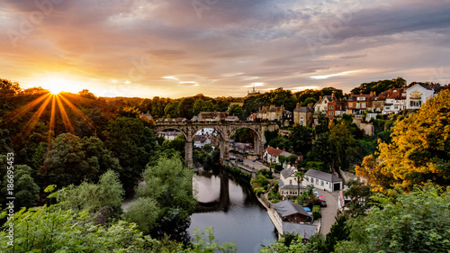 Aluminium Prints Salmon Knaresborough Viaduct from Knaresborough Castle, North Yorkshire
