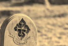 Ancestry And Genealogy. Moonochrome Ancient Gravestone Inscribed In Memory Of