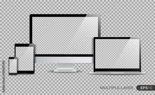 Fotografia  Realistic Computer, Laptop, Tablet and Smartphone with Blank Wallpaper Screen Isolated on Transparent Background