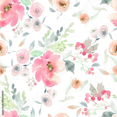 Bezszwowy lato wzór z akwarela kwiatami handmade.