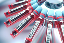 Lab Equipment Centrifuging Blood. Concept Image Of A Blood Test.3d Rendering.