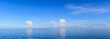Panorama Blue sea and blue sky with white cloud in oil and gas platform background.