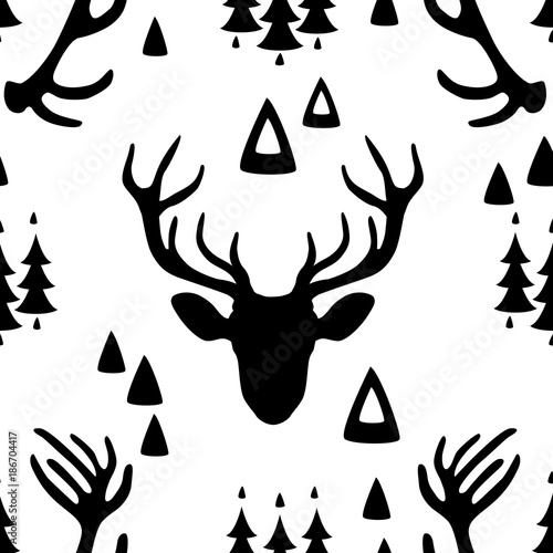 Seamless pattern with Deer heads