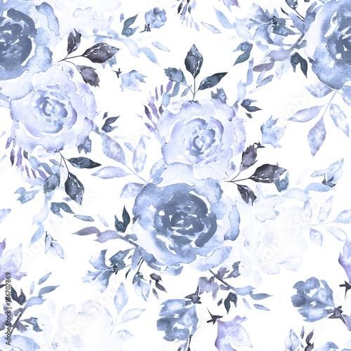 Seamless pattern with blue flowers and leaves on white ...