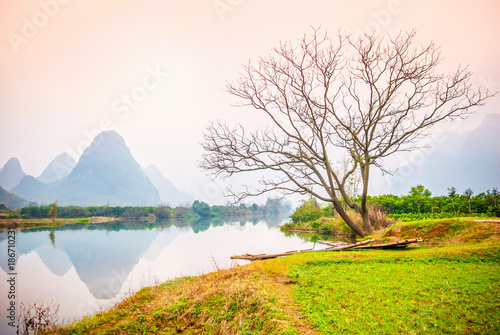 Staande foto Guilin Landscape of Guilin in early spring. Guangxi Province, China.