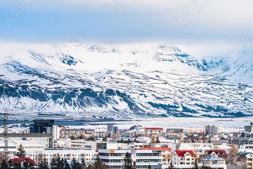 Beautiful view of  Reykjavik winter in Iceland winter season Canvas-taulu