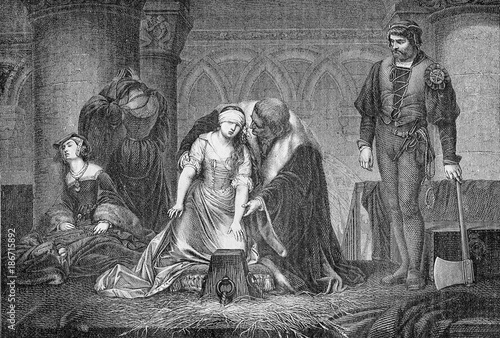 Photo Vintage engraving, beheading of Lady Jane Grey in the Tower of London, year 1554