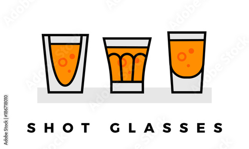 Carta da parati Set of Shot Glasses isolated on white background. eps 10