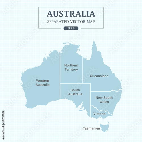 Australia Map States.Australia Map Mono Color High Detail Separated All States Vector