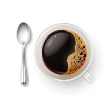 Vector Realistic Cup Coffee Spoon Top View Closeup
