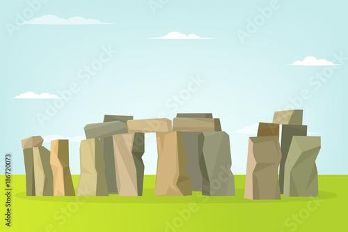 Cuadros en Lienzo Stonehenge vector landscape