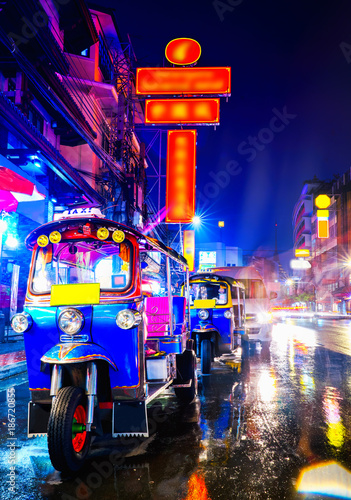 Aluminium Prints Bangkok Tuk Tuk taxi in china town bangkok at the night