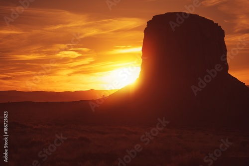 Photo Stands Brown Norther Arizona Desert Sunset