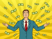 Businessman And Money Rain Pop...