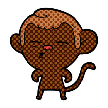 Cartoon Suspicious Monkey